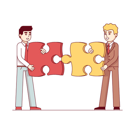 Business men gathering together puzzle pieces