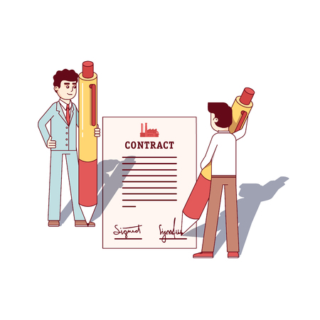business contract: Business men holding pens, signing large contract Illustration