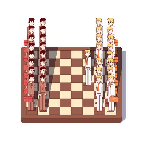 Business men standing on chess board as figures Vektorové ilustrace