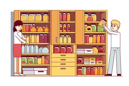 Hombre y mujer haciendo tareas domésticas en despensa o bodega
