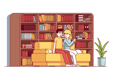 Couple man and woman sitting flirting on sofa Vetores
