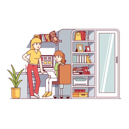 University student girls living together in dorm