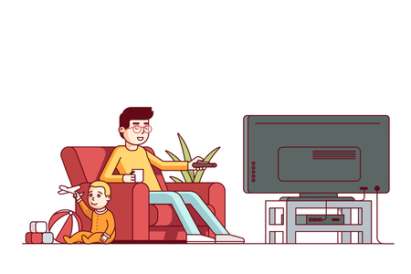 relaxar: Father watching tv and looking after baby son Ilustração