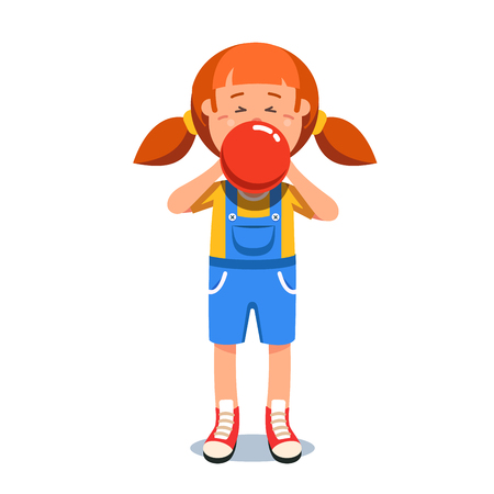 Girl standing in jumpsuit blowing red air balloon Stock Illustratie