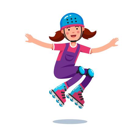 rollerblades: Girl in jumpsuit, helmet jumping on roller blades