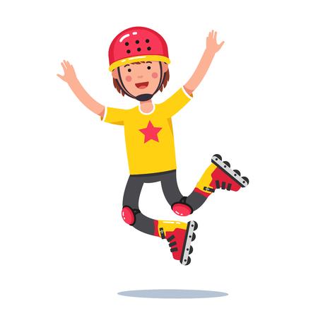 Boy in helmet jumping and rolling on roller blades Ilustração
