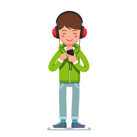 Teen boy in headphones listening to music on phone Illustration