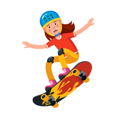 Teen boy in wearing helmet jumping on skateboard  イラスト・ベクター素材