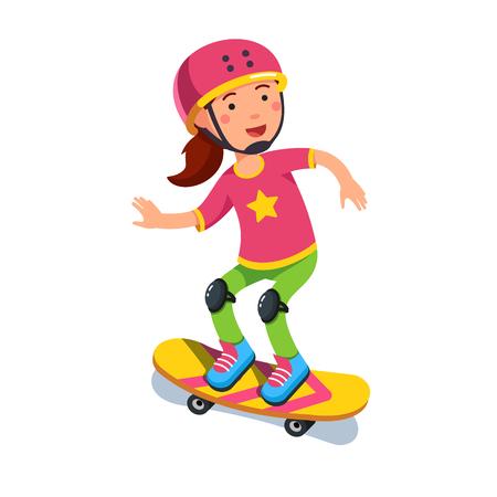 Boy kid wearing helmet skating on skateboard Illustration
