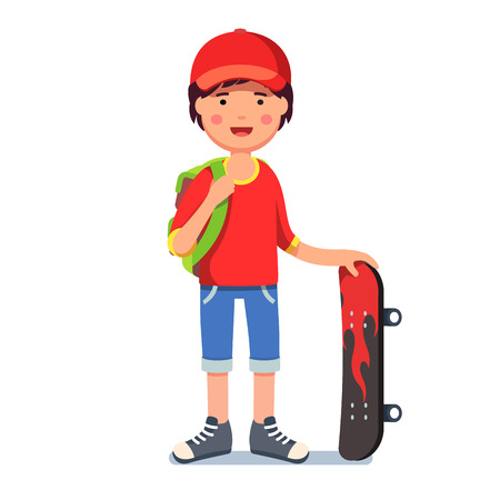 Teen kid boy in cap with backpack and skateboard Illustration