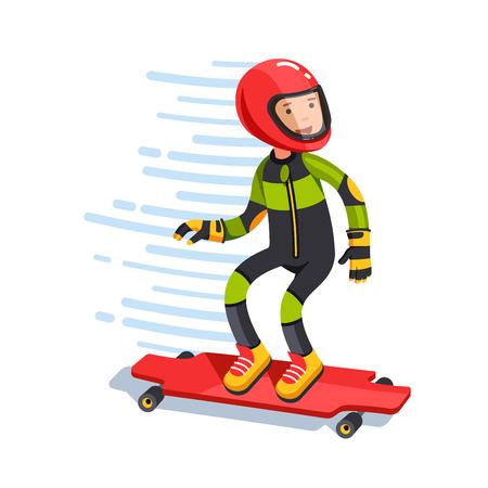 Teen kid longboard rider in protective gear riding
