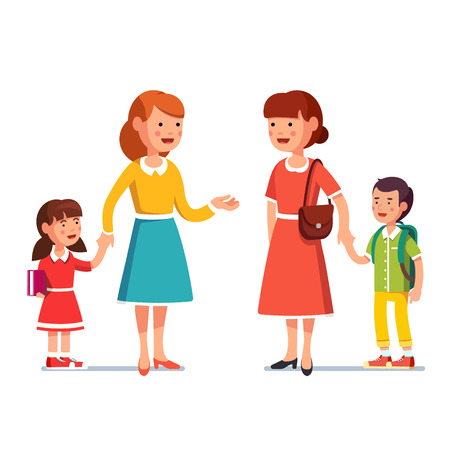 Mothers with school and kindergarten boy and girl