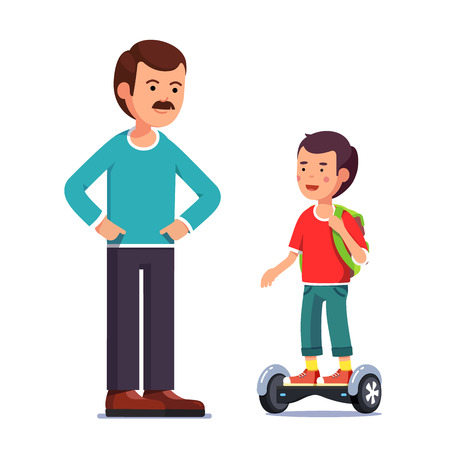 Boy riding a balancing electric gyroboard scooter Illustration