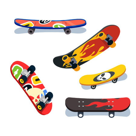 Various skateboards views and angles set 向量圖像