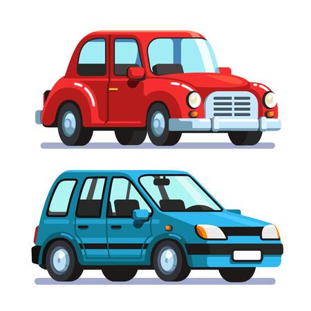 Passenger retro car and modern station wagon auto Ilustrace