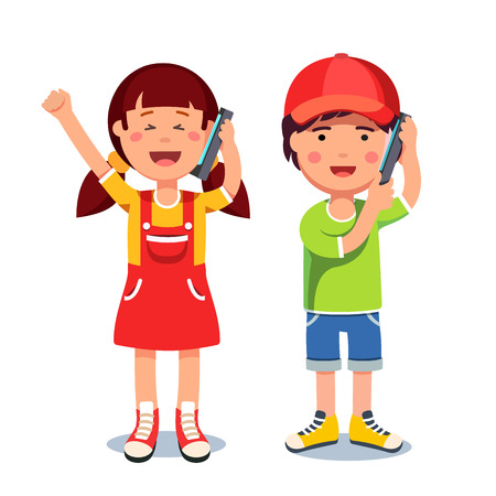Kids girl and boy talking on a mobile smart phones Vectores