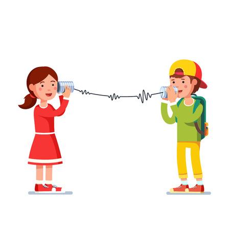 子供女の子と男の子のブリキ缶の有線電話で話しています。