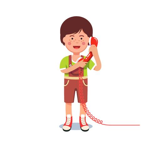 Kid garçon parlant sur un téléphone filaire rétro Illustration vectorielle.