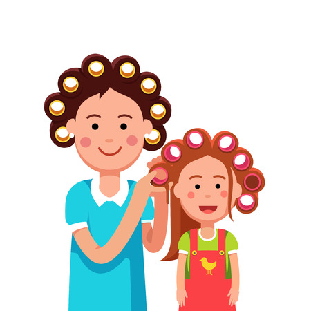 curler: Mother and daughter girl doing curly hairstyle Vector illustration.