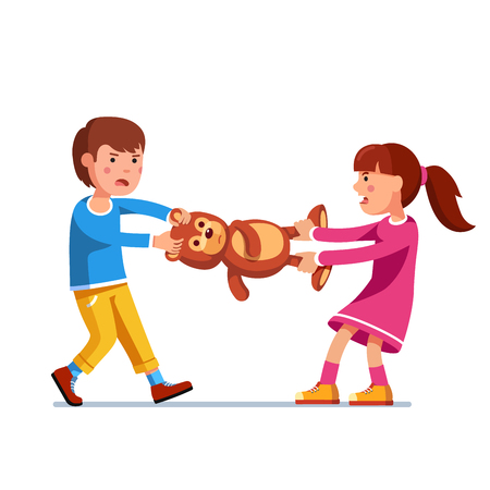 Kid girl, boy brother and sister fighting over toy Vector illustration. Vettoriali