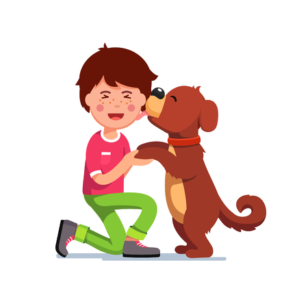 first grader: Puppy dog licking kids boy face Vector illustration.
