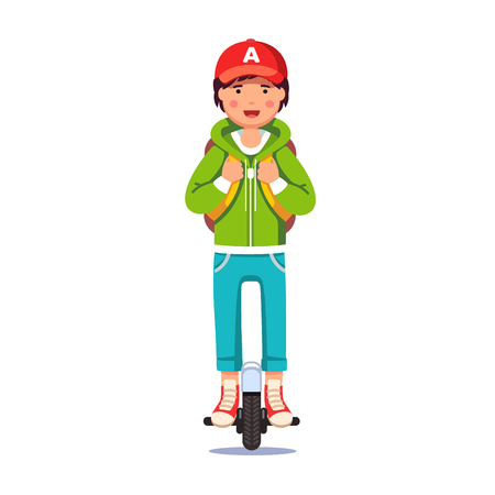 Boy riding self-balancing mono wheel scooter Vector illustration. Illustration