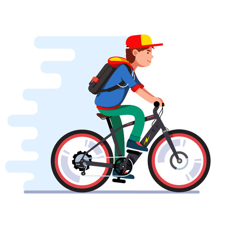 Teenager boy riding fast modern electric bicycle Vector illustration. Vectores
