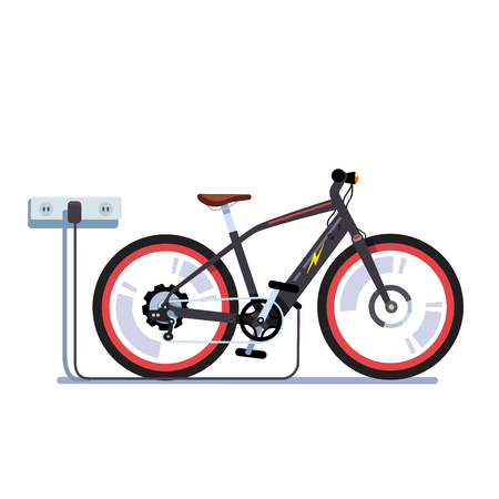 Electric bicycle charging batteries with outlet Vector illustration.