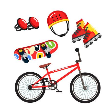 Street extreme sports gear set, bike, skates Vector illustration.