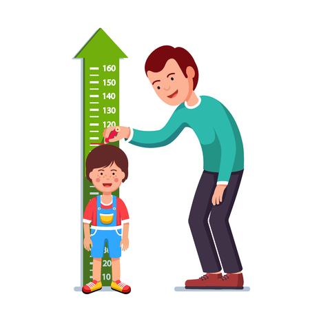centimetre: Teacher or father measuring boy kid height Vector illustration.