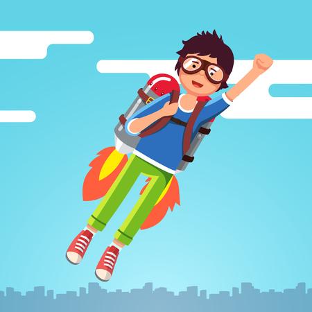 Boy flying in the sky clouds on a rocket jetpack Vector illustration. Illustration