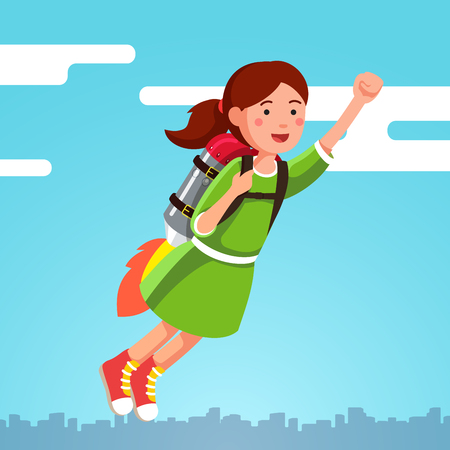 Girl flying in the sky clouds on a rocket jetpack Vector illustration.