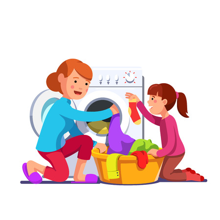 Girl help mum loading laundry to washing machine Vector illustration.