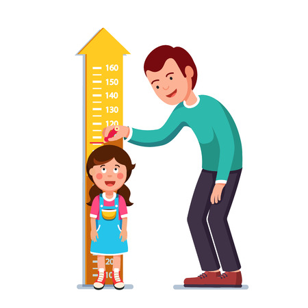 Teacher or father measuring girl kid height Vector illustration. Illustration