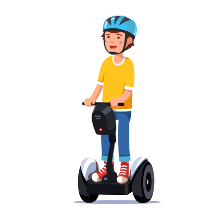 Boy riding a standing modern electric gyro scooter Vector illustration. Illustration