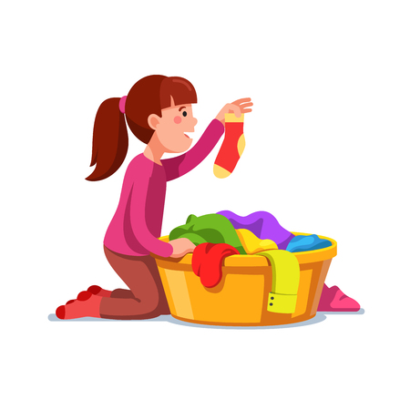 Girl kid doing housework chores sorting laundry Vector illustration.