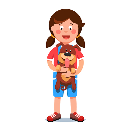 acquaintance: Kid girl holding puppy dog friend in her hands Vector illustration. Illustration