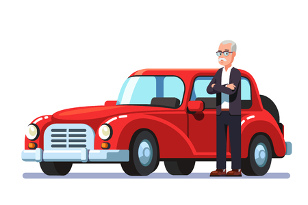 Old rich man standing next to expensive retro car Vector illustration.