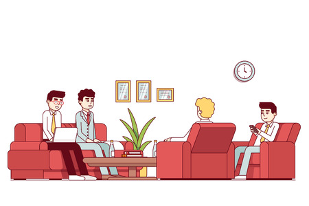 Business man people talking sitting together in office waiting or meeting room with couch, arm chairs and coffee table. Company hall decoration, furniture. Flat style thin line vector illustration.