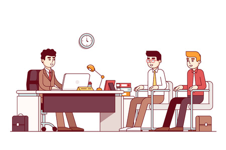 ceo: New employees and boss sitting in office room with three chairs, desk. CEO or HR officer and two candidates job interview. Business meeting. Flat style thin line vector illustration isolated on white. Illustration