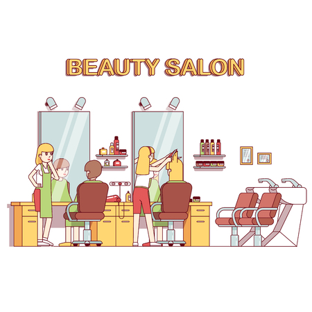 Hairdresser stylist making client girl hairstyle or haircut. Woman hairdressing beauty salon interior design with chairs, mirrors, desks, backwash sinks. Flat style thin line vector illustration. Illustration