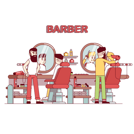 Men beauty salon. Bearded hairdresser barber doing client haircut. Trendy vintage barbershop interior design with chairs, mirrors, desk, shelves. Flat style thin line vector illustration.