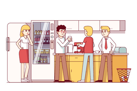 kitchen cabinets: Business colleagues eating in office kitchen