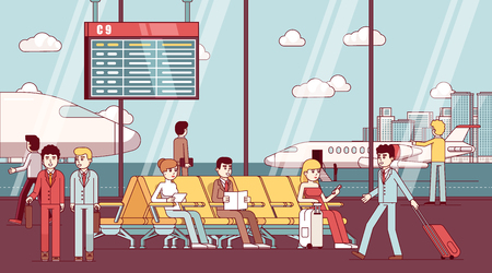 Business people sitting in airport waiting room Stock Illustratie