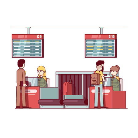 Woman working at airport check in desk counter