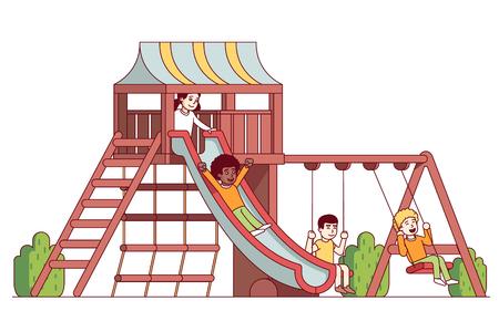Jongens en meisjes kinderen spelen op school speeltuin