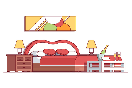 Wedding double bed bedroom hotel room suite illustration. Illustration