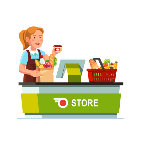 Cashier girl working at grocery store checkout counter. Sales clerk taking out goods from shopping food basket, ringing, packing paper bag. Flat style vector illustration isolated on white background. Stock Illustratie