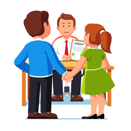 Family couple man and woman taking bank loan or mortgage, clerk sitting at desktop showing, reviewing, giving approved credit contract. Flat style vector illustration isolated on white background.