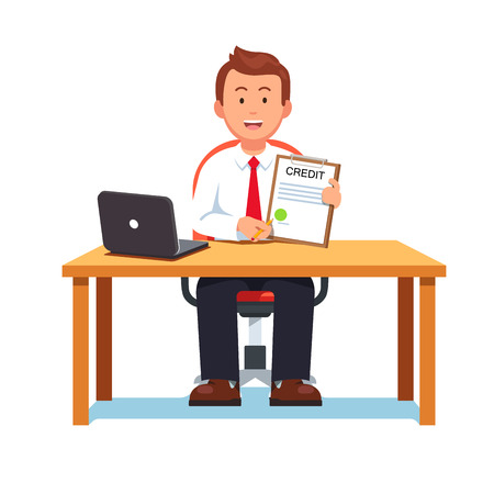 Smiling banking clerk showing bank credit, loan contract or mortgage agreement sitting at desk with laptop. Business man lender. Flat style vector illustration isolated on white background. Illustration